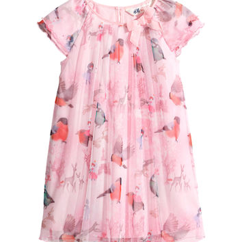 H&M - Patterned Tulle Dress - Pink - Kids