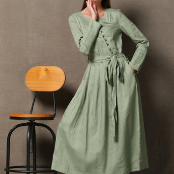 Mint Green Linen Dress - Maxi Autumn/Winter Transitional Women's Dress Asymmetrical Button Closure & Pintuck Details (C608)