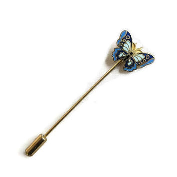 Blue Enamel Butterfly Hat Stick Pin Brooch Vintage