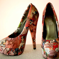 Harley Quinn Comic Book Heels. Arkham Asylum. Joker. Batman. Custom Made to Order One of a Kind Shoes