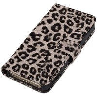 iPhone SE Case, Fosmon CADDY-LEOPARD Leather Folio Wallet Case for Apple iPhone SE / 5S / 5 (Tan)