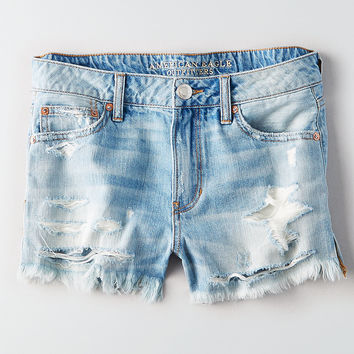 AEO Tomgirl Shortie, Light Destroy Wash