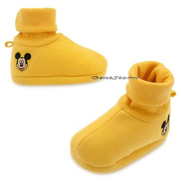 Licensed cool Mickey Mouse Face Yellow BABY Costume Dress Up SHOES SLIPPERS Disney Store NEW