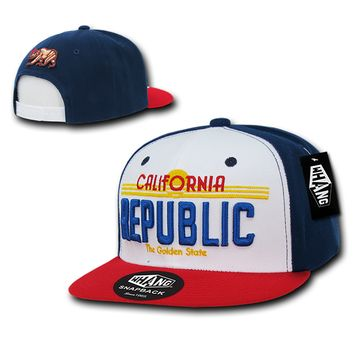 New CALIFORNIA REPUBLIC SNAPBACK HAT Navy, White & Red Golden State License Plate