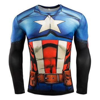High stretch tights Avengers Batman wicking men's t-shirts fitness gym quick-drying clothes Men's sports long-sleeved T-shirts
