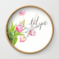 Pink tulips Wall Clock by Sylvia Cook Photography