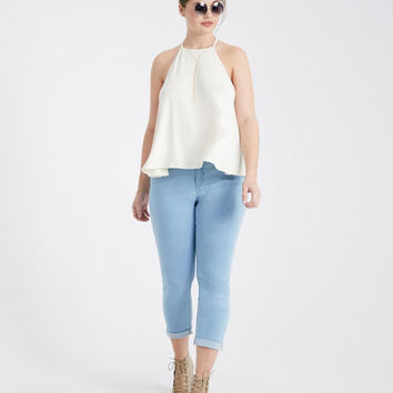 Plus Size 2-Button Stretchy Roll Cuff Jeans | Wet Seal Plus