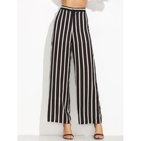 Black And White High Waist Striped Wide Leg Long Pant