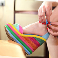 Rainbow Print Super High Wedge Blue Pu Ankle Strap Sandals (6)