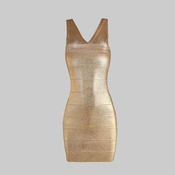 Shimmering Summer Bronze Cocktail Dress. The Perfect Summer Dressy Dress.