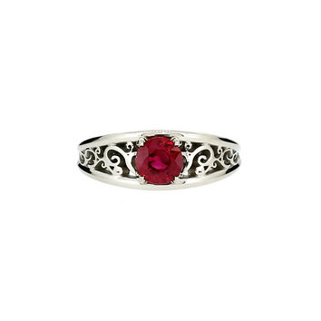 Ruby solitaire filigree ring, white gold, ruby engagement ring, unique, red engagement, ruby wedding ring, vintage style, custom engagement