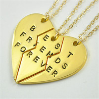 M80599 Three Sisters Necklace Set Best Friends Forever Necklace Charm BFF Necklaces Tiny silver and gold Jewelry