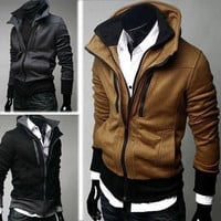 Men's Cool Trick Double Neckline Zip Up Jacket Coat Outerwear Outwear New Hot