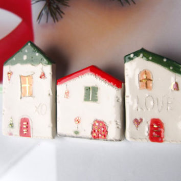 Set of 3 Christmas Fridge ceramic Magnets  - Small  Ceramic House Magnets in red and green with Golden details, Vitez Art, Croatia