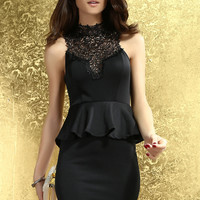 Black Embroidered High Neck Peplum Dress with Back Cut Out