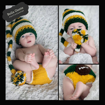 Packers set - crochet elf hat and diaper cover set- Are you ready for some football set - baby photography prop