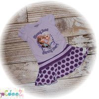 Altered, Upcycled Original New Disney frozen tee dress, size 2/3/4 with Anna and Elsa