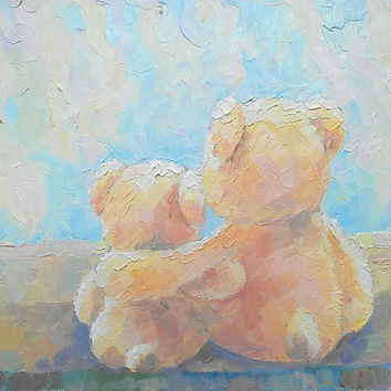 "Oil Painting ""Teddy-Bears near the window"", Impasto, Decor, Gift Idea, Made to Order, Teddy-Bears Painting, Child Room Art, Art for Child"