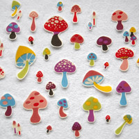 25 Pc Retro Mushrooms No Sew Iron On Appliques Cotton Toadstool Patches
