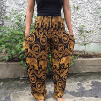 Trousers Yoga Pants Elephants Print Hippie Baggy Boho Hobo Fashion Style Clothing Rayon Gypsy Tribal Clothes Exercise For Beach Summer yello