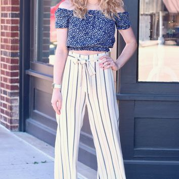 Brie Striped Wide Leg Pants {Off White}