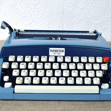Working Typewriter- Restored Webster XL 500 Portable Brother Typewriter in Blue- Great Father's Day Present!