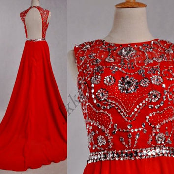 Long Red Backless Prom Dresses,Stunning Beaded Crystal Party Dresses,Long Chiffon Homecoming Dresses,Bridesmaid Dresses