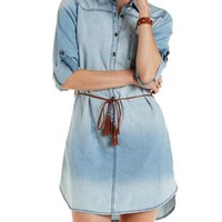 Belted Chambray Shirt Dress by Charlotte Russe