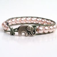 Good Luck Elephant, Pink Swarvoski Pearl Leather Wrap Bracelet, Mother 's Day Gift