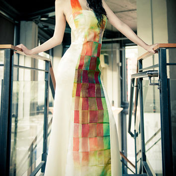 Colorful Wedding Dress, Modern Wedding Dress, Alternative Indie Wedding Dress, Silk Dyed Bridal Gown, Statement Wedding Dress. Boho Wedding