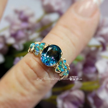 Peacock Blue Rainbow Mystic Topaz Wire Wrapped Ring - Handmade Signature Design Marcella Ring