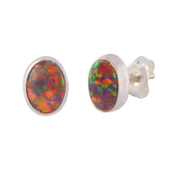Opal Stud Earrings Sterling Silver Gemstone iridescent Orange 7mm x 9mm Oval