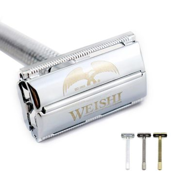 WEISHI Safety Razor Butterfly Long handle 11.5CM Double-edged Shaving Razor 9306FL 9306CL 9306IL Silvery Gun color Bronze NEW