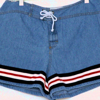 1980s sailor blue jean denim shorts / tie closure / athletic jersey trimmed