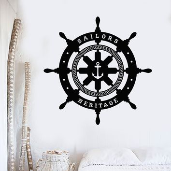 Vinyl Wall Decal Ships Wheel Sailor Nautical Decor Stickers Unique Gift (ig4252)
