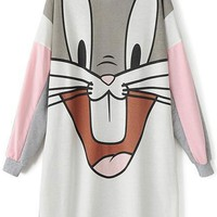 Happy Bunny Long Sweatshirt - OASAP.com