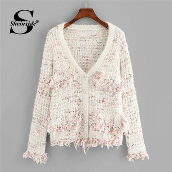 Sheinside Frayed Tweed Knit Button Up Cardigan Women Clothes 2018 Autumn Fashion Womens Sweater Long Sleeve Elegant Ladies Coat
