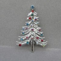 Vintage Christmas Tree Pin Signed DODDS, Silver Tone Multi Color Rhinestones