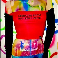 Harajuku punk sexy omighty absolute filth but still cute letters embroidery slash neck long sleeve crop tops YQ-625