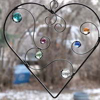 Heart Shaped Sun Catcher with Multi Colored Glass by newmoonglass