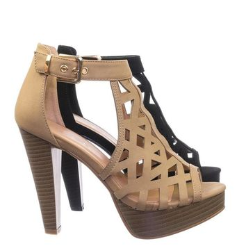 Bonica1 Tapered Block Stacked Heel Sandal w Gladiator Geometric Laser Cutout