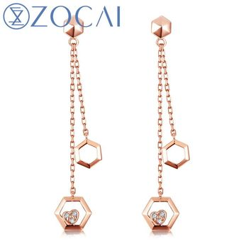 18KT Rose GoldThe Honeycomb Series Real 0.03 CT Diamond Drop Earrings