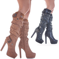 Ladies Stiletto Style Slim Heeled High Heel Platform Winter Zip Knee Boots Size