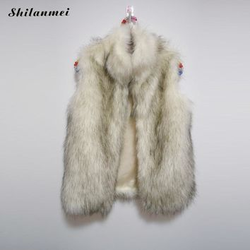 2017 High Quality Plus Size Women Fur Vest Long Style Faux Fur Coat Winter Fashion Furs Women'S Coats Furry Jacket Gilet Veste
