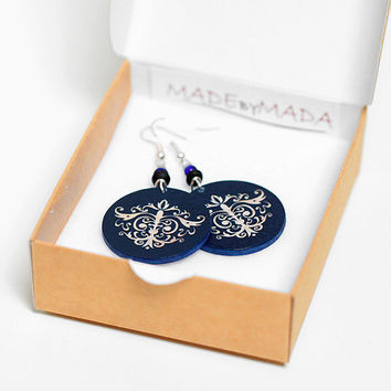 on SALE Damask Ornamental French style Earrings french chic , Medium size 3cm Ø, gift for her under 20 (B3)