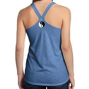Yoga Clothing for You Womens Yin Yang Patch T-back Tank Top - Neck Print