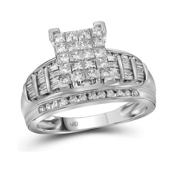 14kt White Gold Womens Princess Diamond Cluster Bridal Wedding Engagement Ring 2.00 Cttw - Size 9
