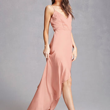 Satin Surplice Maxi Dress