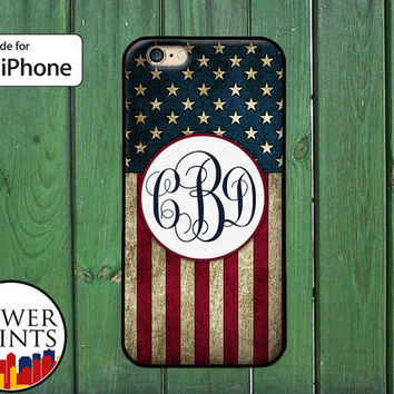 USA Flag American Stripes Monogram Custom Initials Tumblr For Rubber iPhone 4 and iPhone 5 and 5s and 5c and iPhone 6 and 6 Plus iPhone SE
