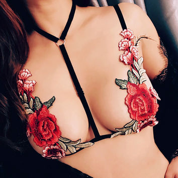 Temptation Embroidery Rose Flower Bandage Halter Strap Vest T-shirt